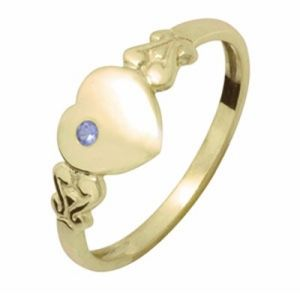 Image of Sapphire Gold Ring - Heart Signet Size I (23686/SS'I)
