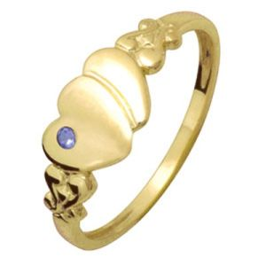 Image of Sapphire Gold Ring - Hearts Size O (23688/SS'O)