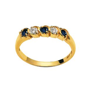 Image of Sapphire and Diamond Gold Ring - 5 Stone (23807/S)