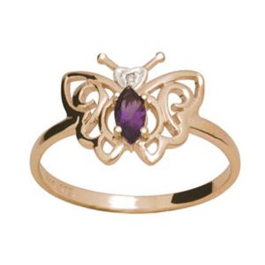 Image of Amethyst and Diamond Gold Ring - Butterfly (24661/AM)