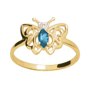 Image of Blue Topaz and Diamond Gold Ring - Butterfly (24661/BT)