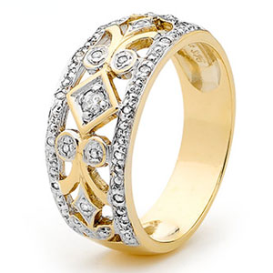 Image of Diamond Gold Ring - Filigree (24666)