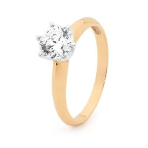 Cubic Zirconia CZ Gold Ring - Promise