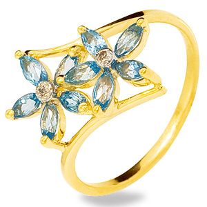 Image of Blue Topaz and Diamond Gold Ring - Flower (24737/BT)