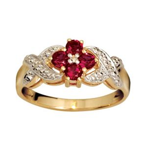Image of Ruby and Diamond Gold Ring - Flower Kiss (24753/CR)