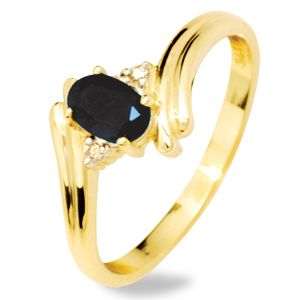 Image of Black Sapphire and Diamond Gold Ring - Twist (24847/SLG)