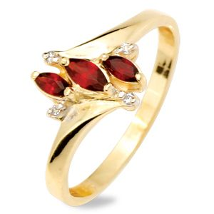 Image of Garnet and Diamond Gold Ring (24850/GT)