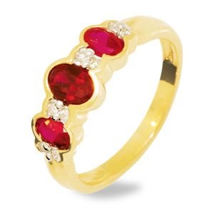 Ruby and Diamond Gold Ring - Trilogy