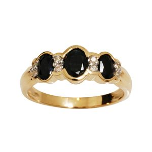 Image of Black Sapphire and Diamond Gold Ring - Three Stone (24914/SLG)