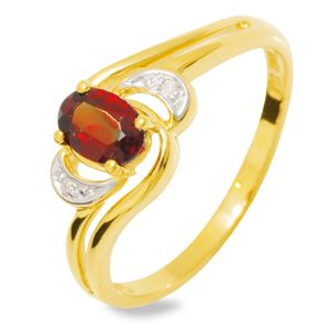 Image of Garnet and Diamond Gold Ring - Oval (24916/GT)