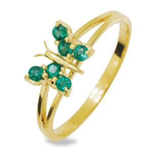 Image of Emerald Gold Ring - Butterfly (24929/G)