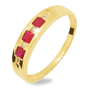 Image of Ruby and Diamond Gold Ring - Three Stone (24932/CR)