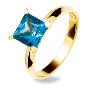 Image of Blue Topaz Gold Ring - Square 7x7mm (24951/BT)
