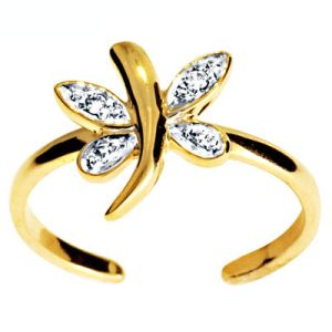 Image of Diamond Gold Toe Ring - Dragonfly (25003)