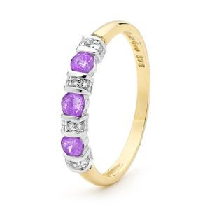 Image of Amethyst and Diamond Gold Ring - Eternity (25050/AM)