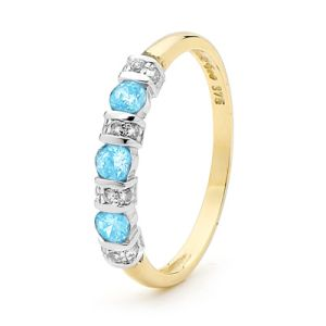 Image of Blue Topaz and Diamond Gold Ring - Eternity (25050/BT)