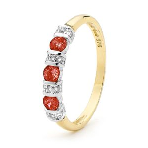 Image of Garnet and Diamond Gold Ring - Eternity (25050/GT)