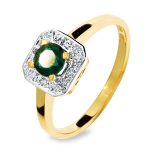 Image of Emerald and Diamond Gold Ring - Square (25053/G)