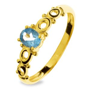 Image of Blue Topaz Gold Ring - Circles (25060/BT)