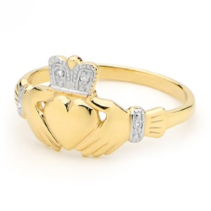 Image of Diamond Gold Ring - Claddagh (25116)