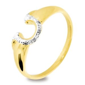 Image of Diamond Gold Ring - Horseshoe for Luck (25118)