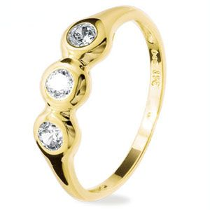 Image of Cubic Zirconia CZ Gold Ring - Trilogy Bezel Set (25155/CZ)