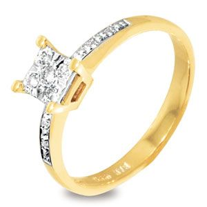 Image of Diamond Gold Ring - Engagement 4 Claw (25161)