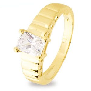 Image of Cubic Zirconia CZ Gold Ring - Ribbed (25210/CZ)