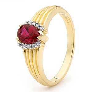 Image of Ruby and Diamond Gold Ring - Ribbed (25214/CR)