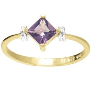 Image of Amethyst and Diamond Gold Ring - Princess (25216/AM)