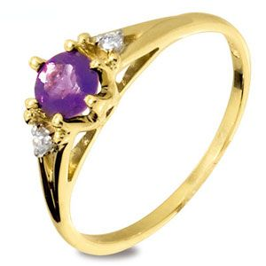 Image of Amethyst and Cubic Zirconia CZ Gold Ring (25219/AM)