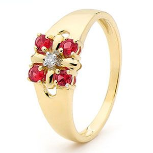 Image of Ruby and Diamond Gold Ring - Four Stone (25264/CR)