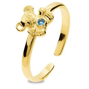 Image of Blue Spinel Gold Toe Ring - Teddy Bear (25291/SPAQ'K)