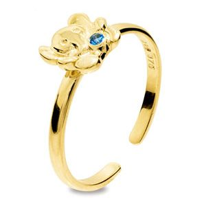 Image of Blue Spinel Gold Toe Ring - Elephant (25293/SPAQ'K)