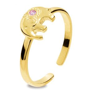 Image of Pink Cubic Zirconia CZ Gold Toe Ring - Elephant (25295/CZP'K)