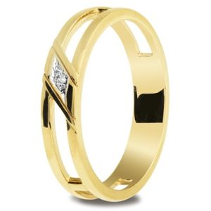 Image of Diamond Gold Ring - Men's Double Band (25301)