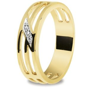 Image of Diamond Gold Ring - Men's Trilogy Band (25302)