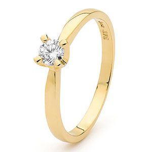 Image of Diamond Gold Ring - Engagement .25ct (25303/C25)