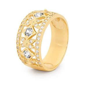 Image of Cubic Zirconia CZ Gold Ring - Filigree Band (25316/CZ)