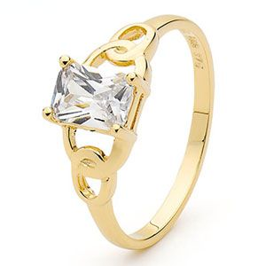Image of Cubic Zirconia CZ Gold Ring - Chain (25342/CZ)