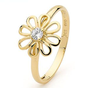 Image of Cubic Zirconia CZ Gold Ring - Flower (25344/CZ)