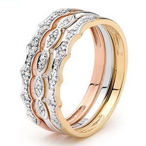 Diamond 3 Tone Yellow and White and Rose Gold Ring Set