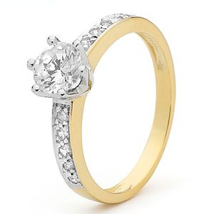 Image of Cubic Zirconia CZ Gold Ring - Engagement 1ct (25364/CZ)