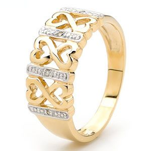 Image of Diamond Gold Ring - Love Hearts (25375)