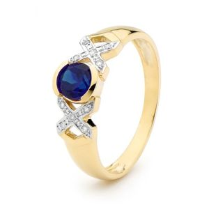 Image of Sapphire and Diamond Gold Ring - XOX (25376/S)