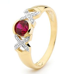 Image of Ruby and Diamond Gold Ring - XOX (25376/CR)