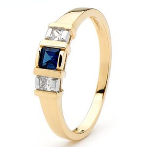 Image of Sapphire and Cubic Zirconia CZ Gold Ring - Trilogy (25377/SSCZ)