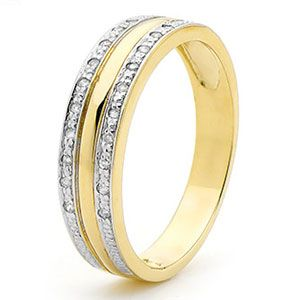Diamond Gold Ring - Banded