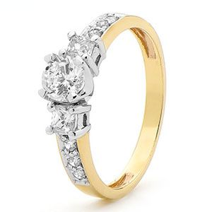 Image of Cubic Zirconia CZ Gold Ring - Engagement Princess (25384/CZ)