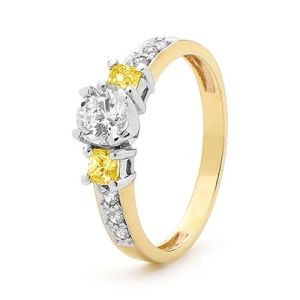 Image of Cubic Zirconia CZ and Yellow CZ Yellow Gold Ring (25384/CZY)